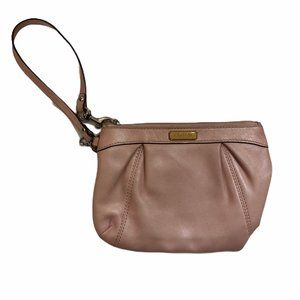 COACH PINK PEARLESCENT SOFT LEATHER SMALL WRISTLET